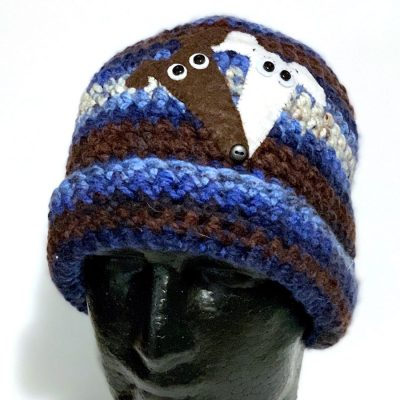 Crochet hat with Two Greyhound Faces