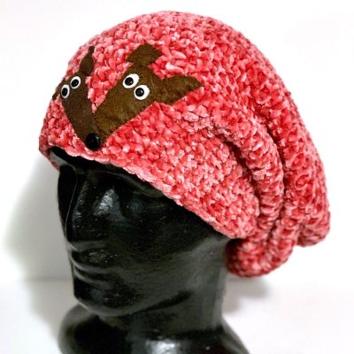 Slouch beanie Crochet hat with Two Greyhound Faces