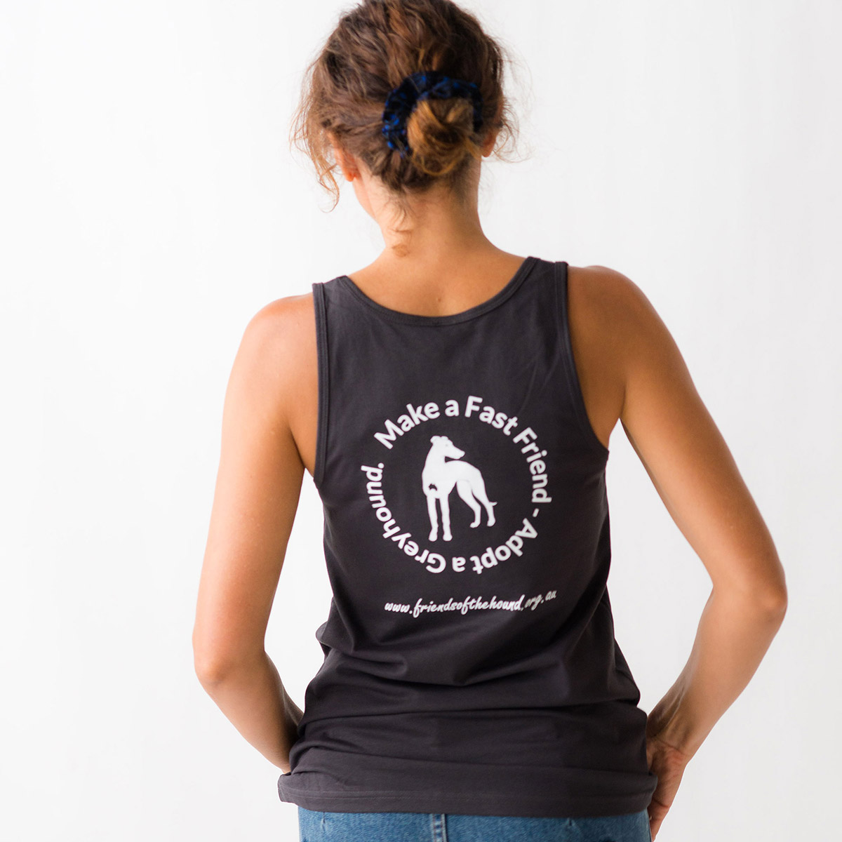 Womens greyhound singlet dark grey