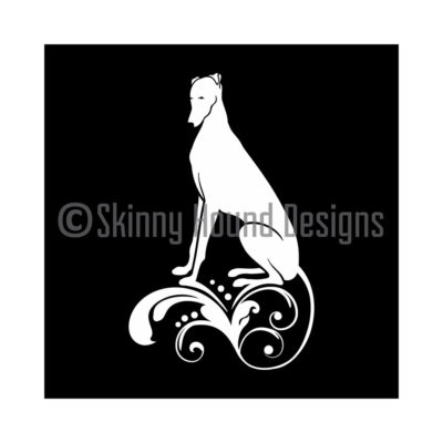 Vinyl Car Decal – Greyhound deco: sitting