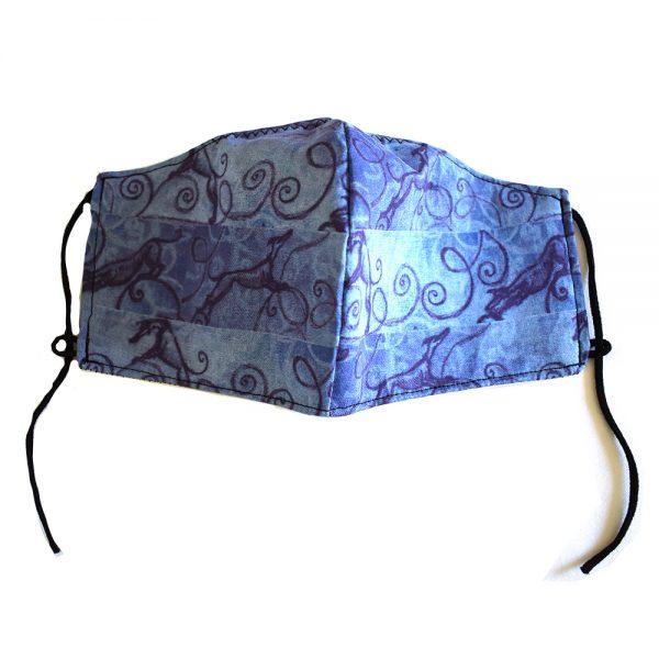 Blue greyhound swirl face mask
