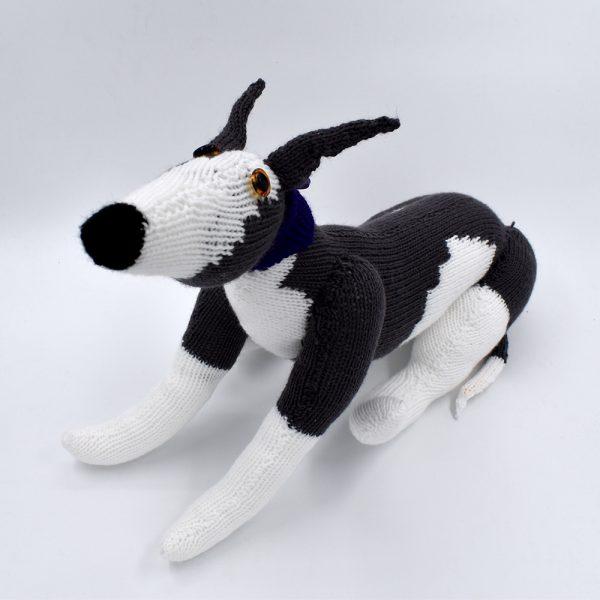 Knitted greyhound toy